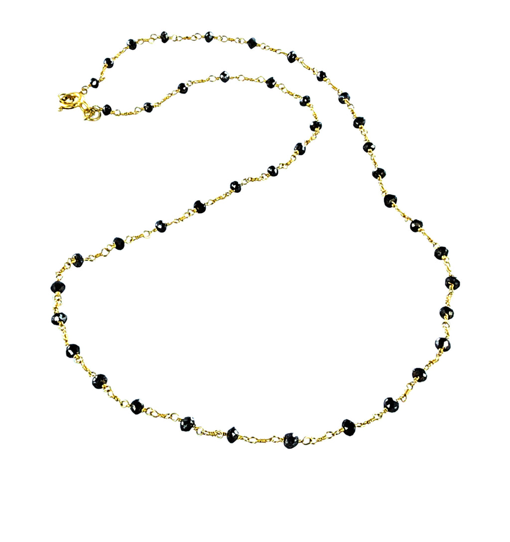 "18K GOLD DIAMOND UNCUT DRUSY BEADS Necklace Black 16"" - New World Gems - 1"