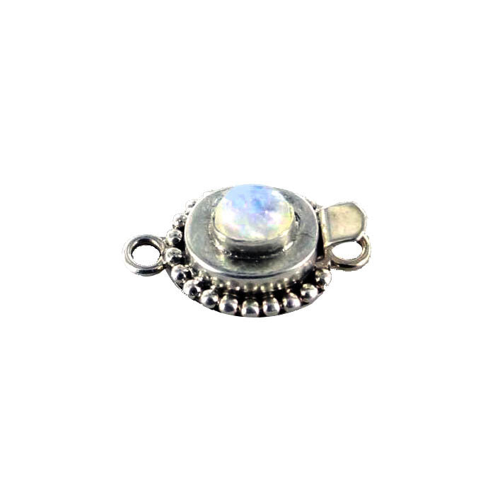 RAINBOW MOONSTONE CLASP 6x7.5mm Dot Design - New World Gems