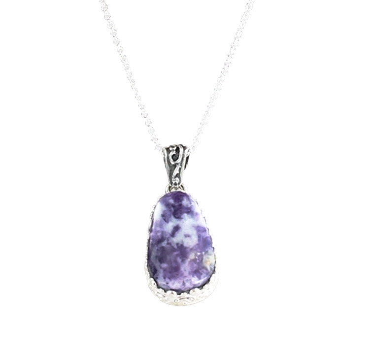 "Lavender Mexican Opal Teardrop Necklace 16"" Sterling - New World Gems - 2"