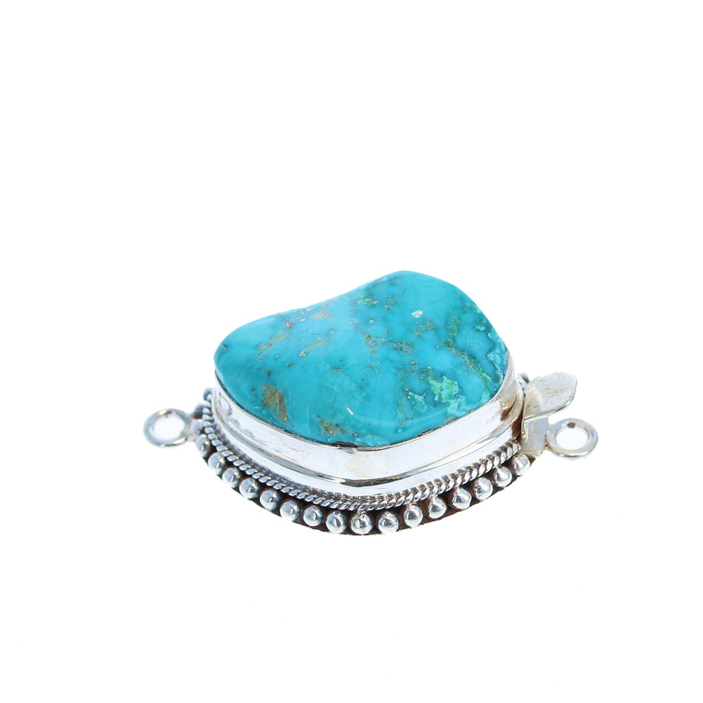 MEXICAN TURQUOISE CLASP Large Sterling Deep Blue