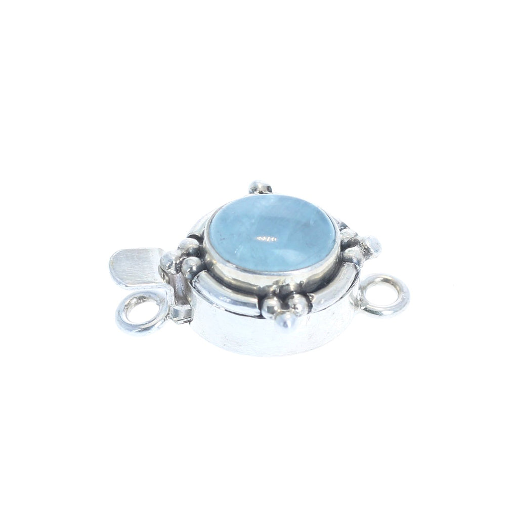 AQUAMARINE CLASP OVAL Southwest Style 8x10mm Sterling