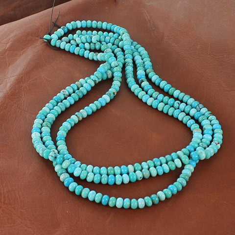 MEXICAN CAMPITOS TURQUOISE Beads Rondelles 6.3mm - New World Gems - 4