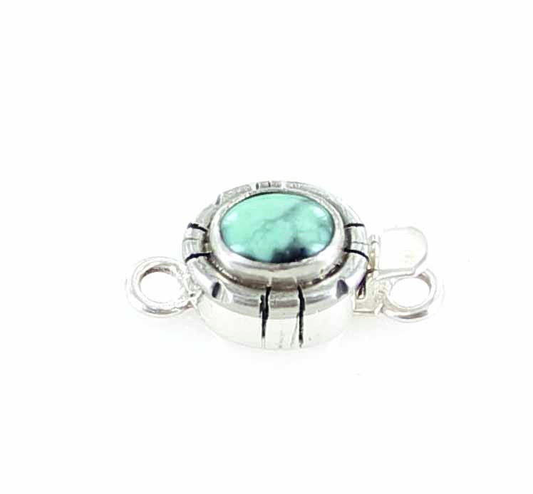 NEW LANDER TURQUOISE Clasp Sterling Southwest 9x7mm - New World Gems