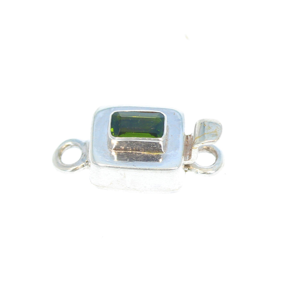 CHROME DIOPSIDE CLASP Faceted Sterling Silver 3x5mm