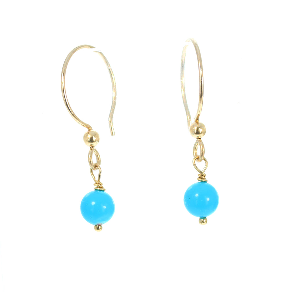 Sleeping Beauty Turquoise Earrings 14K Gold Filled