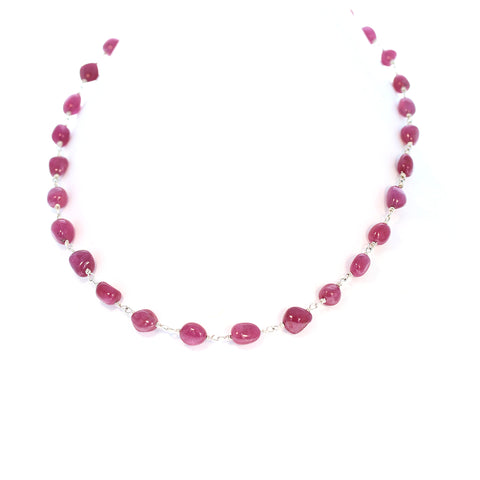 Ruby Chain Necklace Sterling 16-18""