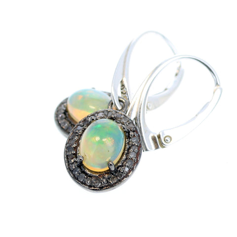 PAVE DIAMOND EARRINGS with Ethiopian Opal Stones