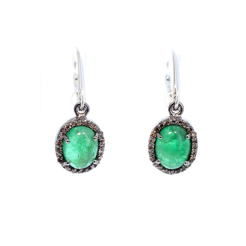PAVE DIAMOND EARRINGS with Genuine Emeralds