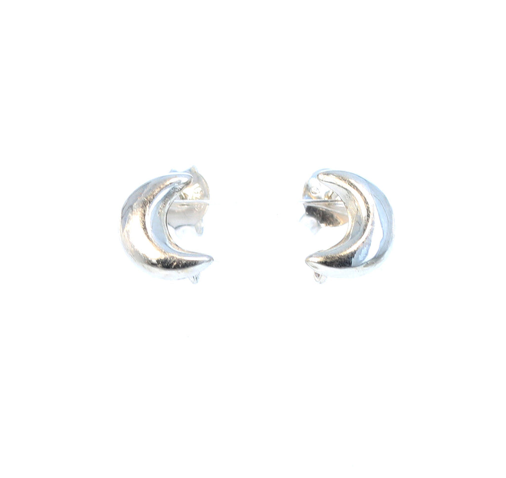 Sterling Silver Moon Post Style Studs 11mm with Loop Component