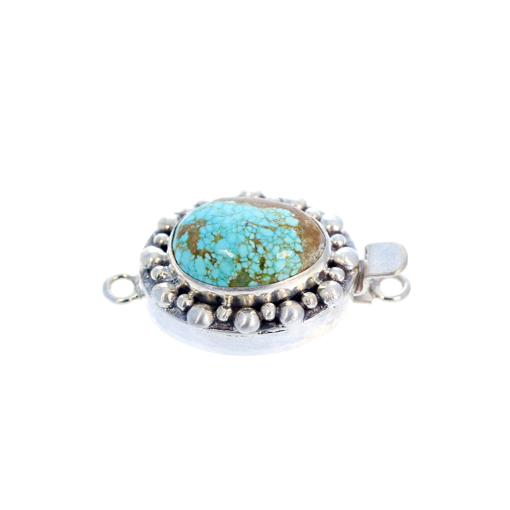TURQUOISE CLASP #8 Mine Sterling Southwest Granulated Design