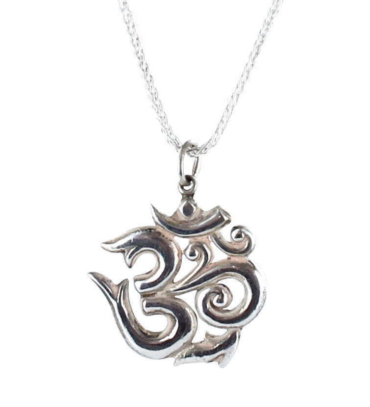 "TIBETAN PRAYER PENDANT STERLING OM SYMBOL NECKLACE 16"" - New World Gems"
