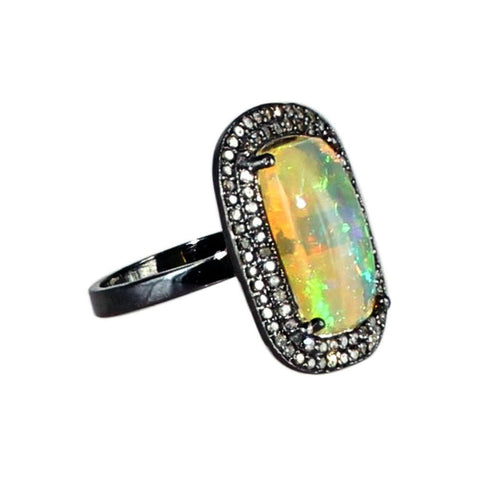 Ethiopian Opal Diamond Ring Sterling 14.5x8mm Size 7 - New World Gems - 3