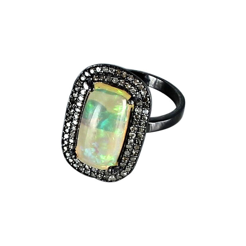 Ethiopian Opal Diamond Ring Sterling 14.5x8mm Size 7 - New World Gems - 1