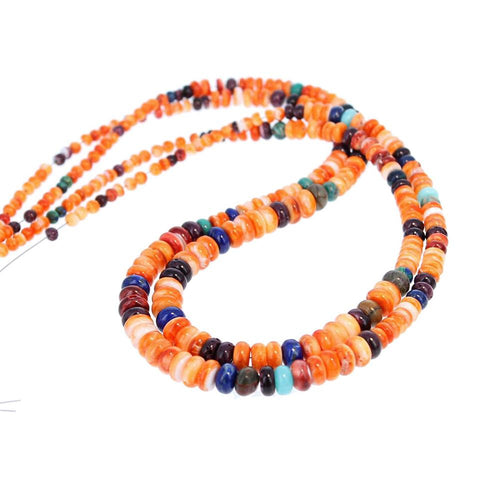 SPINY OYSTER BEADS Rondelles Fiesta Colors Orange Mixed 18""
