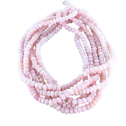 "PERUVIAN PINK OPAL Semi Round 6.5mm Beads 16"" - New World Gems - 1"
