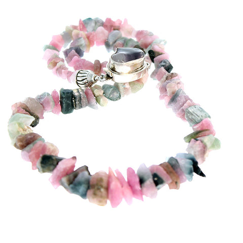 TOURMALINE CRYSTAL BEADS NECKLACE PINK MULTI COLOR 17""