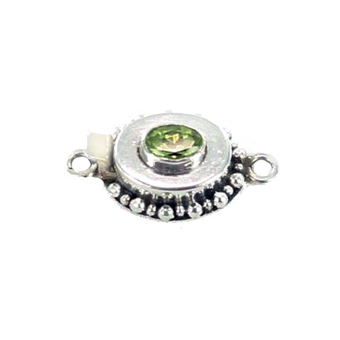 PERIDOT CLASP DOT DESIGN OVAL STERLING