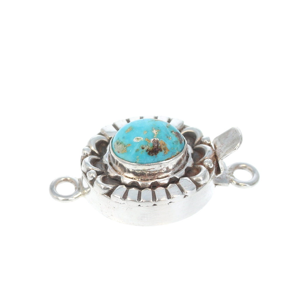 Armenian Turquoise Sterling Silver Clasp Oval Moon Design 11x8mm