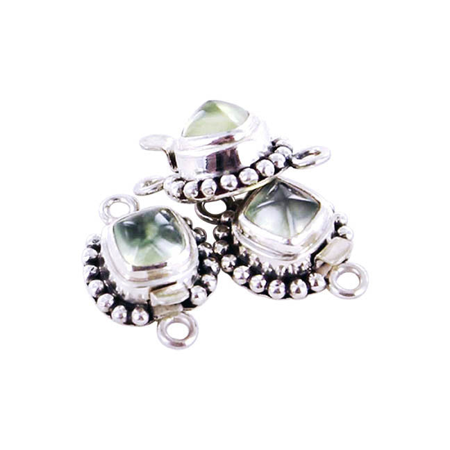 PREHNITE CLASP 8mm CUSHION SHAPE - New World Gems