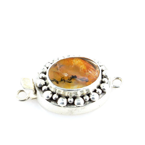 Golden DENDRITIC QUARTZ Clasp Sterling Large Oval - New World Gems