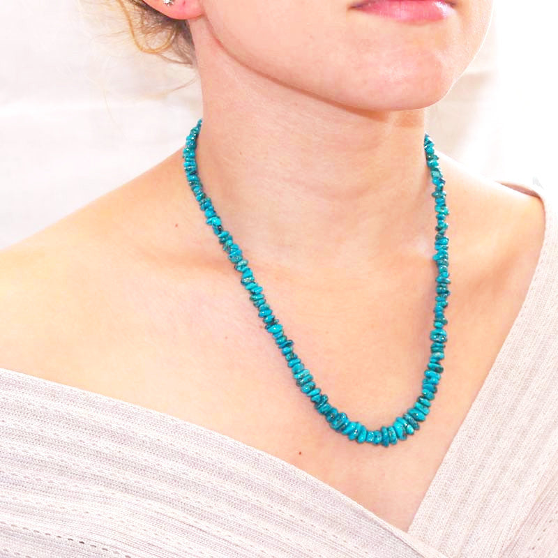 "BLUE BIRD CHRYSOCOLLA NECKLACE Sterling 19"" - New World Gems - 2"