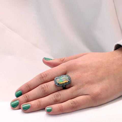 Ethiopian Opal Diamond Ring Sterling 14.5x8mm Size 7 - New World Gems - 2