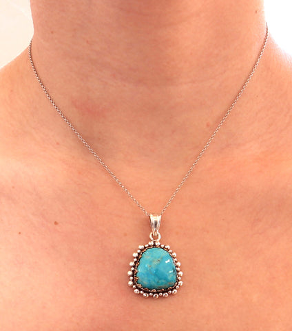 "KINGMAN TURQUOISE PENDANT NECKLACE CROWN SETTING STERLING #2 16"" - New World Gems - 2"
