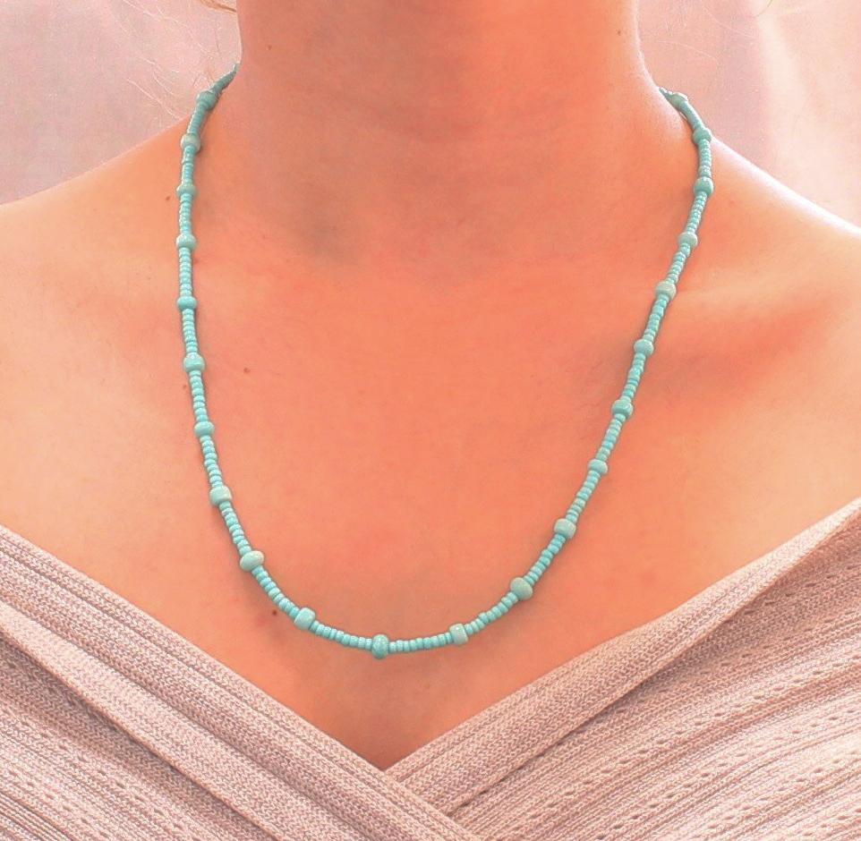 "SLEEPING BEAUTY TURQUOISE NECKLACE BUTTON SHAPE STERLING 17.5"" - New World Gems - 2"