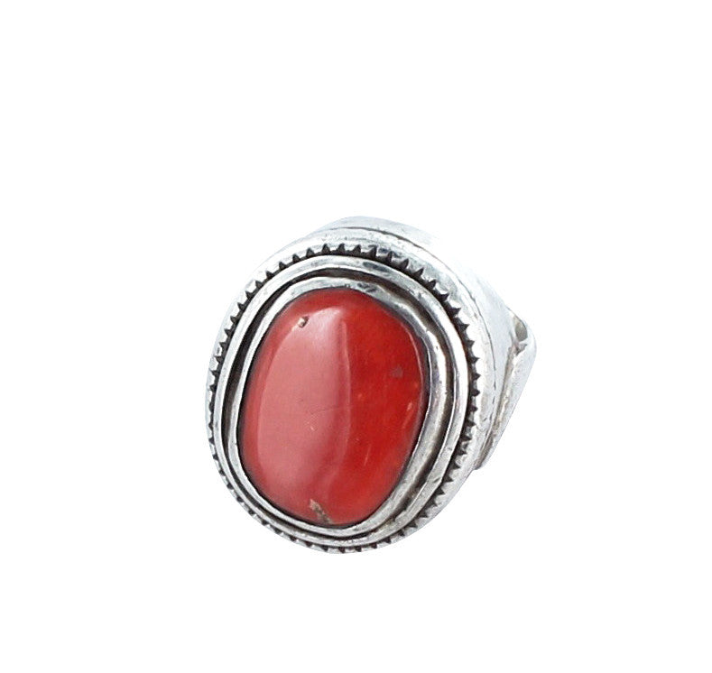VINTAGE TIBETAN CORAL RING STERLING SILVER LARGE - New World Gems - 1