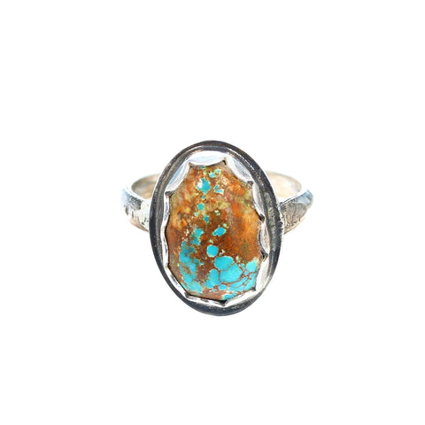 TURQUOISE Ring #8 Mine Sterling Silver 16x10mm Size 6