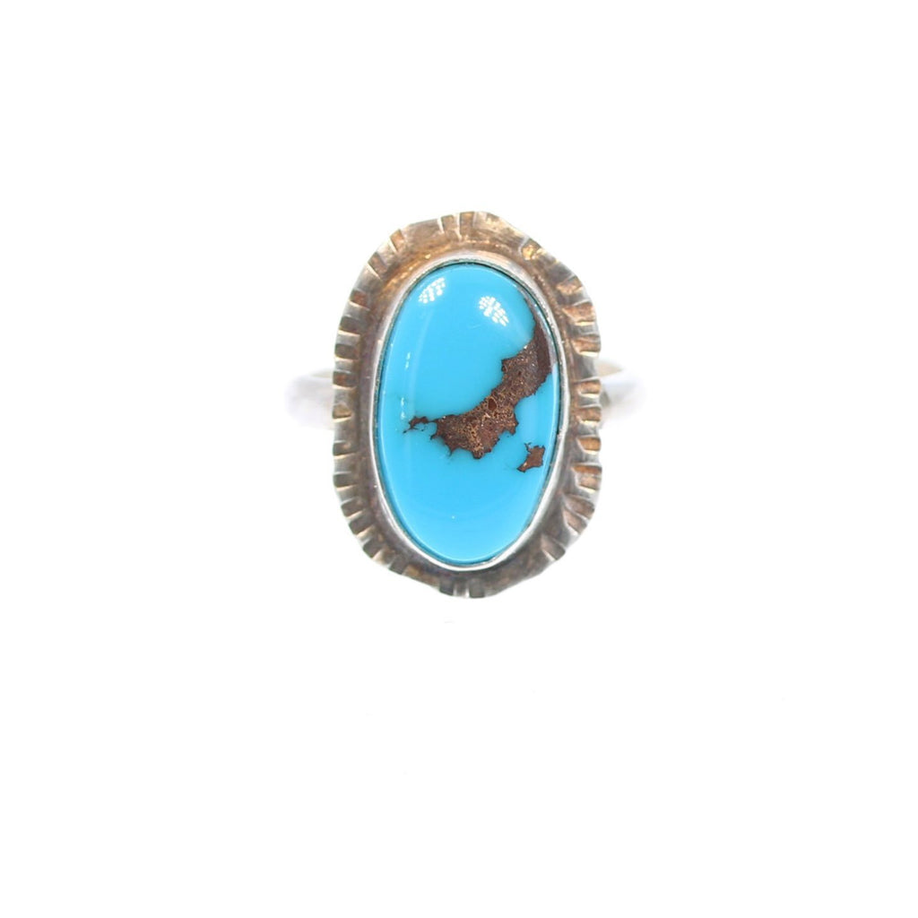 EGYPTIAN TURQUOISE RING Brilliant Blue Sterling Size 8