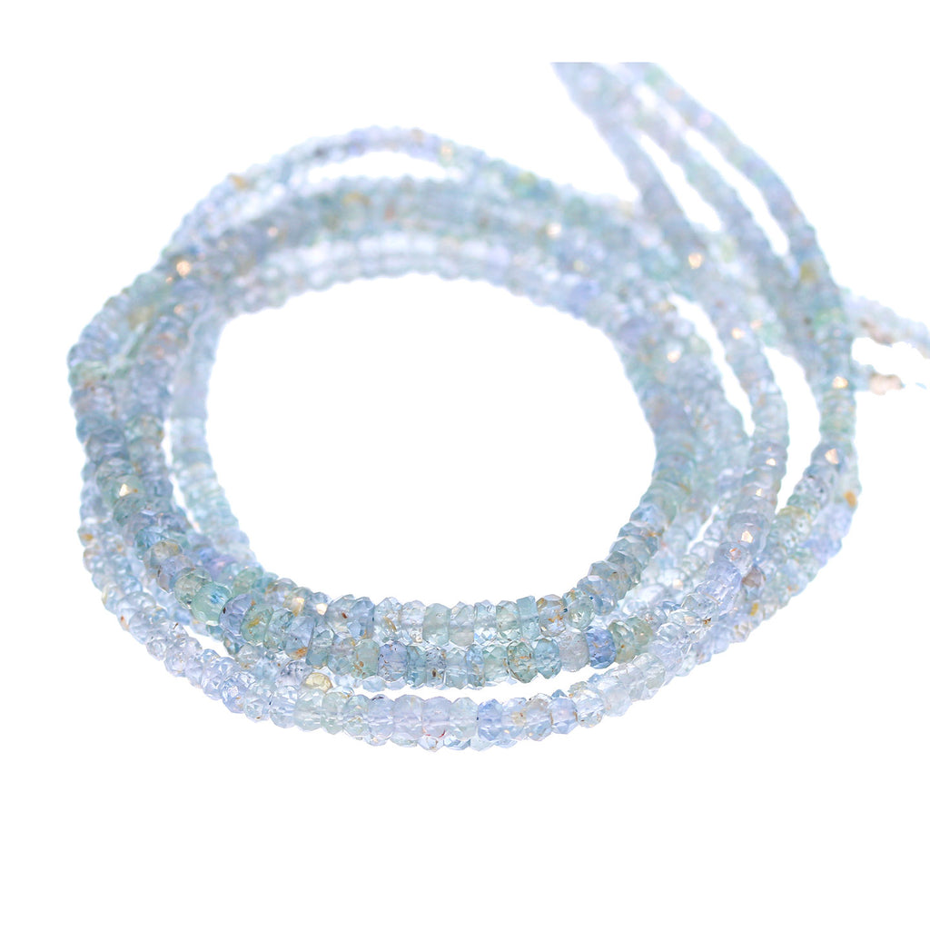 GENUINE SAPPHIRE BEADS Faceted Rondelles Silver Blue 3-4mm