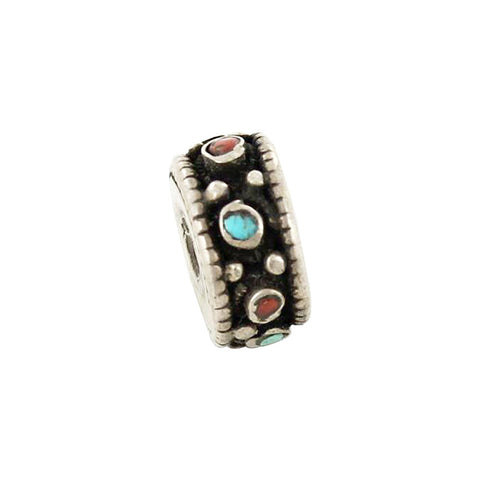 Antique Tibetan Coral and Turquoise Sterling Centerpiece Bead #2 - New World Gems - 2