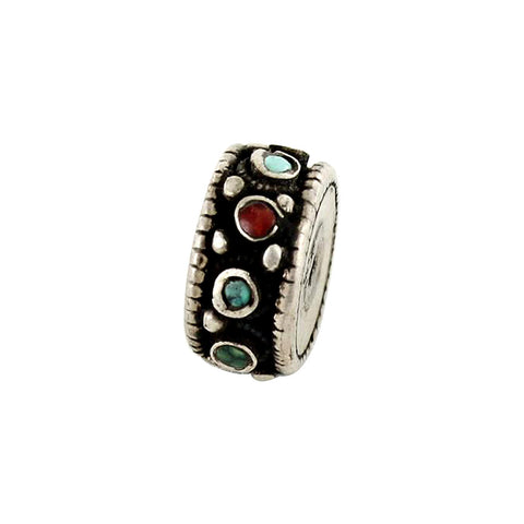 Antique Tibetan Coral and Turquoise Sterling Centerpiece Bead #2 - New World Gems - 3