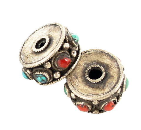 Antique Tibetan Coral and Turquoise Sterling Centerpiece Bead Pair - New World Gems
