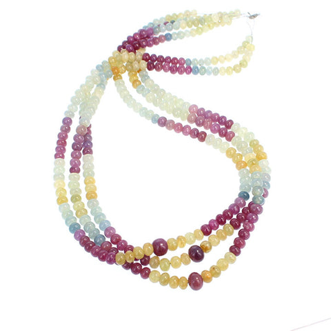 MULTI COLOR SAPPHIRE BEADS 5-8mm RONDELLES 18""