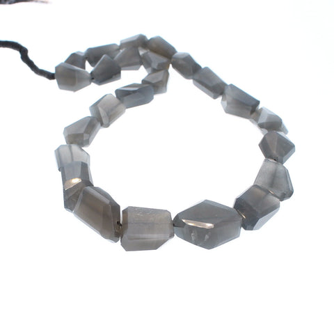 MOONSTONE BEADS Silver Faceted Free Form Large