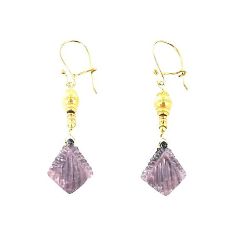 18K GOLD PLUM TOURMALINE EARRINGS - New World Gems - 1