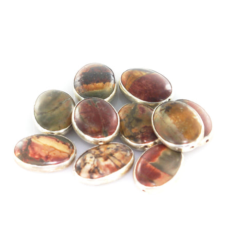STERLING SILVER RIMMED RED CREEK JASPER OVAL BEADS 10 Pcs - New World Gems