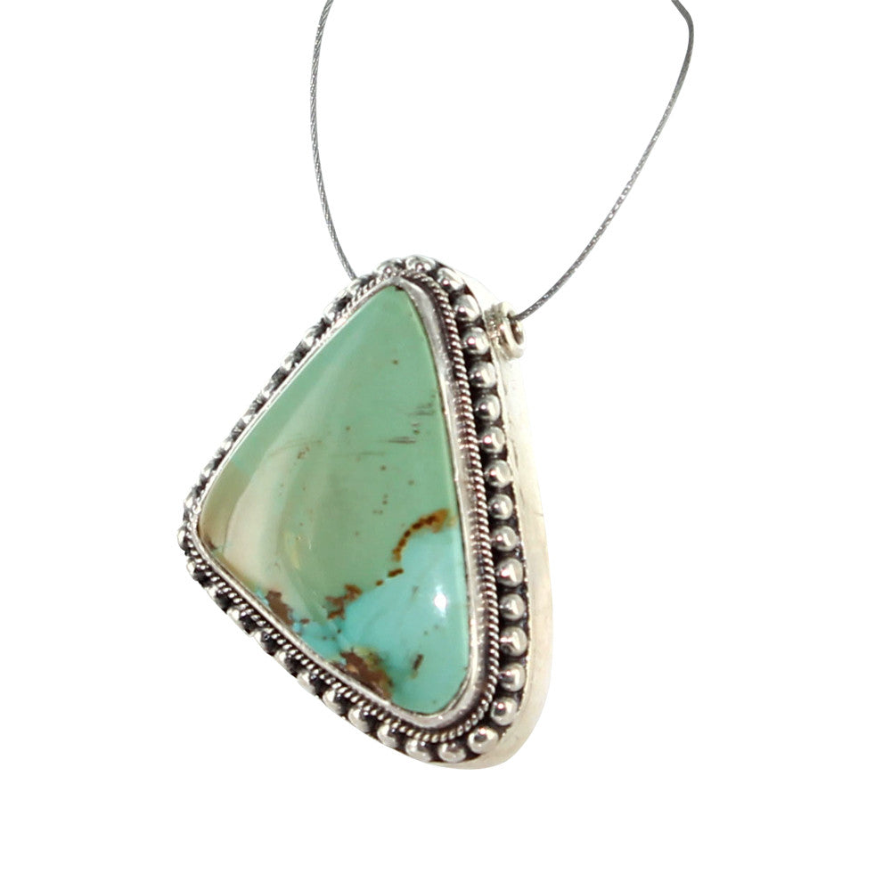 KINGMAN TURQUOISE STERLING SILVER PENDANT BEAD - New World Gems
