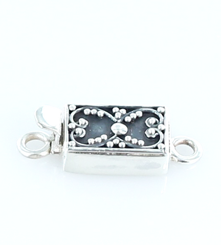 Sterling Granulated Design Cushion Clasp Without Gemstone - New World Gems