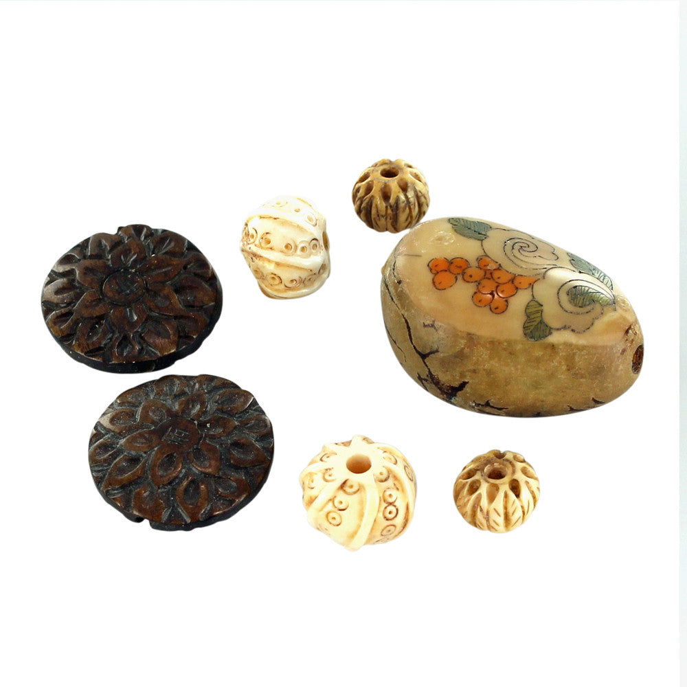 ASSORTED BEADS CARVED WOOD TAGA NUT - New World Gems