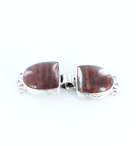 Zebra Jasper Clasp 2 Stone 3 Strand Red Brown - New World Gems