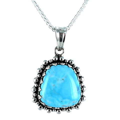 "KINGMAN TURQUOISE PENDANT NECKLACE CROWN SETTING STERLING #2 16"" - New World Gems - 1"
