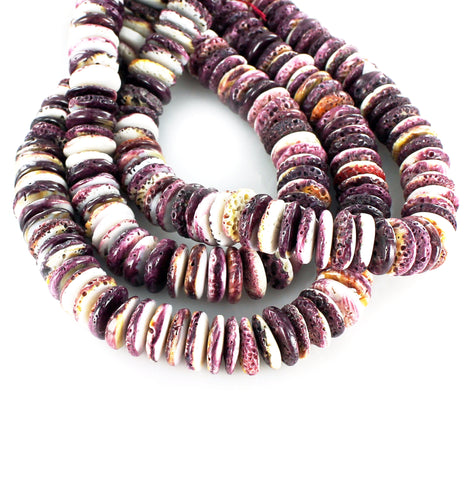PURPLE SPINY OYSTER BEADS 18mm Rondelles - New World Gems