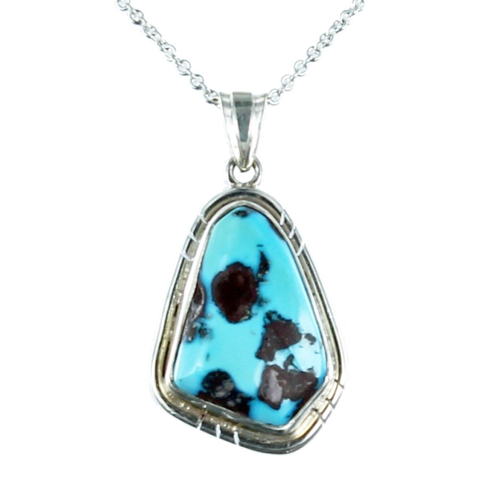 KINGMAN TURQUOISE BLUE PENDANT FREE FORM #1 - New World Gems