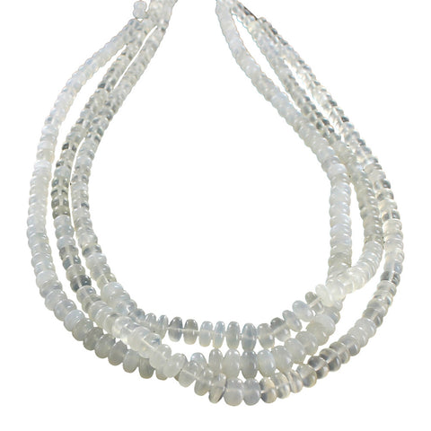 "MOONSTONE RONDELLE BEADS CREAM 6-8.5mm 16"" - New World Gems"