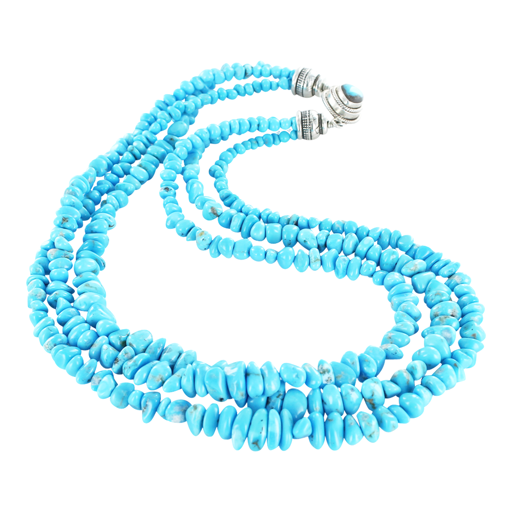 "SLEEPING BEAUTY TURQUOISE NECKLACE 3 STRAND NUGGET SHAPE 18"" - New World Gems - 1"