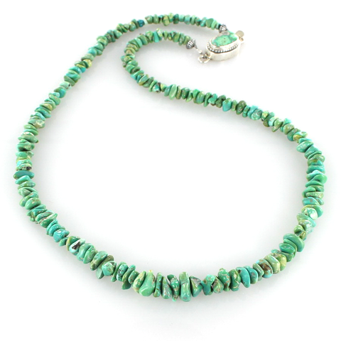 "LONE MOUNTAIN TURQUOISE NUGGET NECKLACE GREEN BLUE STERLING 20"" - New World Gems - 1"