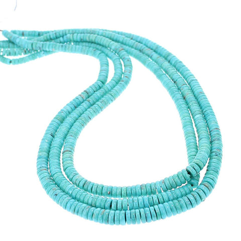 MEXICAN TURQUOISE BUTTON BEADS GLASSY BLUE 5-7.5mm